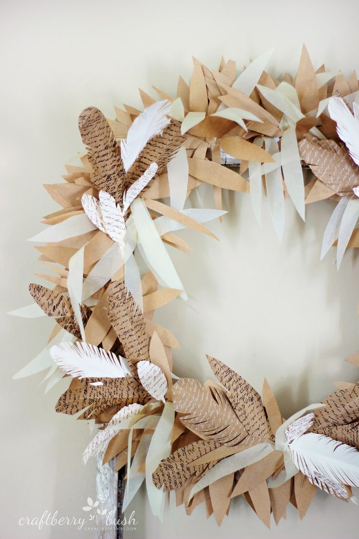 Beautiful fall wreath created with handcut paper feathers - printed card stock by canvas corp - french script printed paper - Craftberry Bush: Paper feather fall wreath