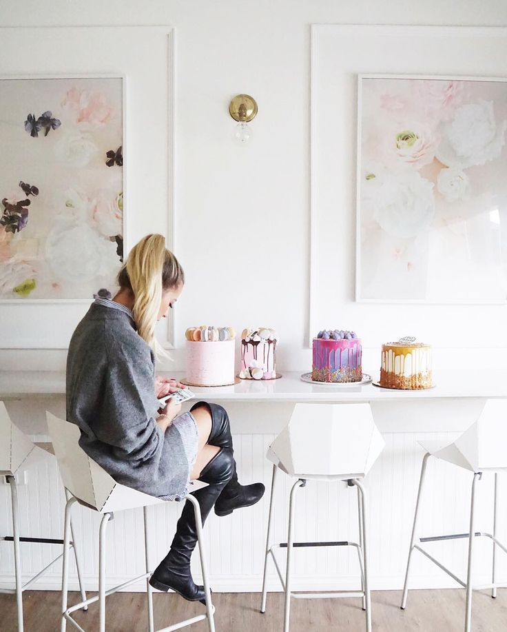 Jenna Rae Cakes + Blu Dot Real Good Bar Stools In White. Photo Via Instagram