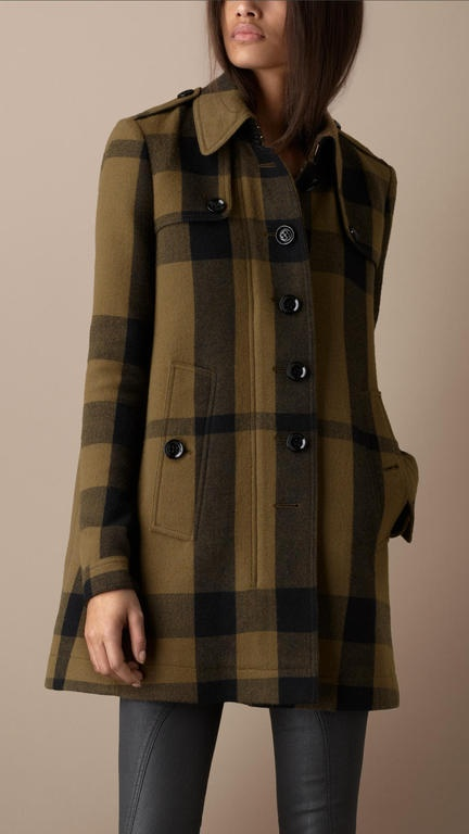 Burberry Brit Check Wool Blend Swing Coat in Green (khaki green)