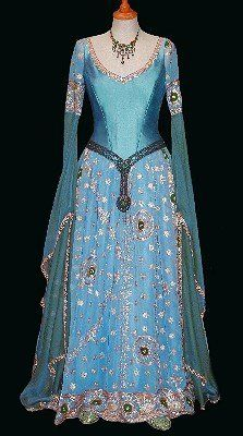 """'On several occasions I have found the rich embroideries of Indian saris ideally suited to Mediaeval styled gowns. In particular, to reproduce wedding dresses based on the famous painting """"The Accolade"""" by Edmond Blair Leighton.'  http://www.rossetti.vispa.com/"""