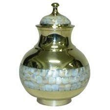 Urnsdirect2u Mother of Pearl Chalice Urn, Adult Size by UrnsDirect2U. $64.95. Made of Brass. 220 CI capacity. threaded, airtight screw-on lid. mother of pearl banded around chalice urn. 9529-10 Features: -Adult urn.-Material: Brass.-Spectacular golden urn with mother of pearl inlays.-Threaded, airtight screw-on lid and comes with a velvet carrying pouch.-220 CI capacity. Dimensions: -Height: 10''.