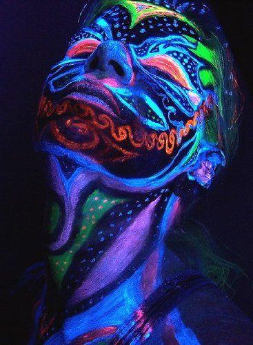 Black Light Reactive Neon Makeup with Black Light Pendant (Pink)