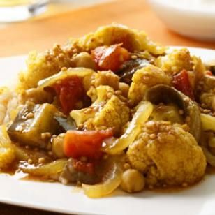 Indian-Spiced Eggplant  Cauliflower Stew Recipe