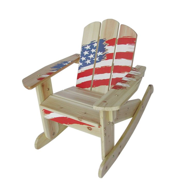 Outdoor Kids Wooden Rocking Chair - American Flag - MM20631
