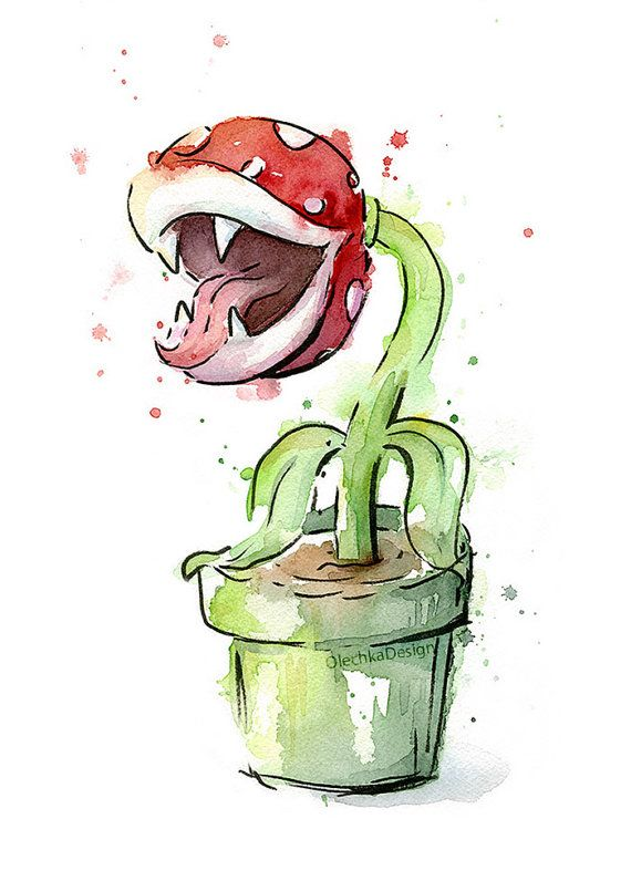 Piranha Plant Watercolor Art Print Mario by OlechkaDesign on Etsy