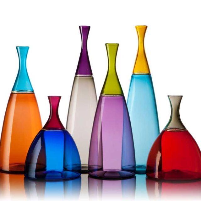 Vetro Vero Hand Blown Glass Two Color Incalmo Vessels - Vetro Vero colorful handblown glass http://www.vetrovero.com/store/p6/Simpatico_Vessels.html