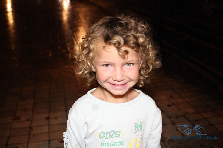 This little girl whose name is Albana often waits outside nightclubs until the early mornings begging for money...