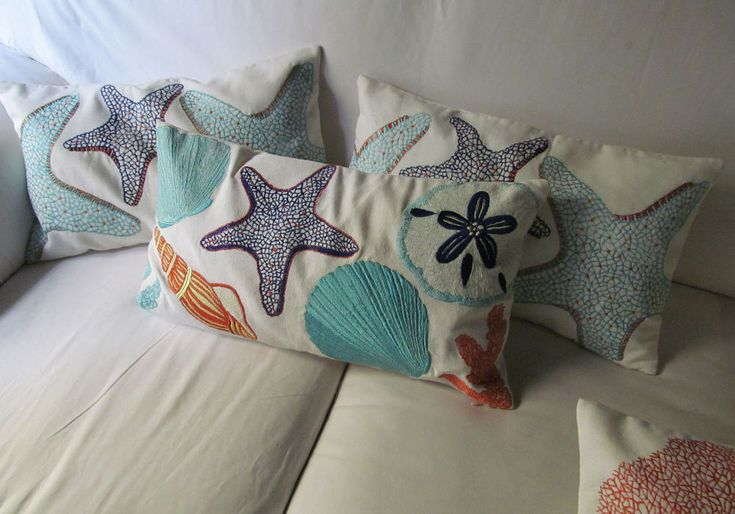 Star fish and sea themed embroidered boudoir pillow cover