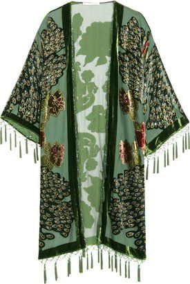 ShopStyle: Kite & Butterfly Peacock Embroidered Silk Coat