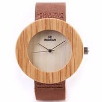 Unisex READER Wooden Watches Luxury Top Brand Oaken Wristwatch Quartz Movement High-quality Oak Wood Watch Raw Edge Leather Band