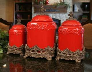 TUSCAN OLD WORLD DRAKE DESIGN LARGE RED KITCHEN CANISTERS SET OF 3