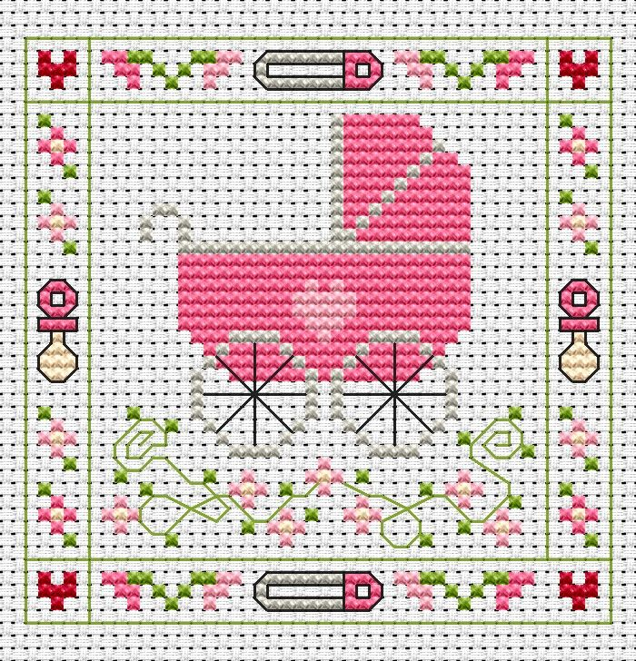 Pink Pram Card cross stitch kit