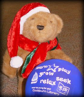 Christmas Adventures of Bing the Library Bear #5. Bing plays with a library balloon.