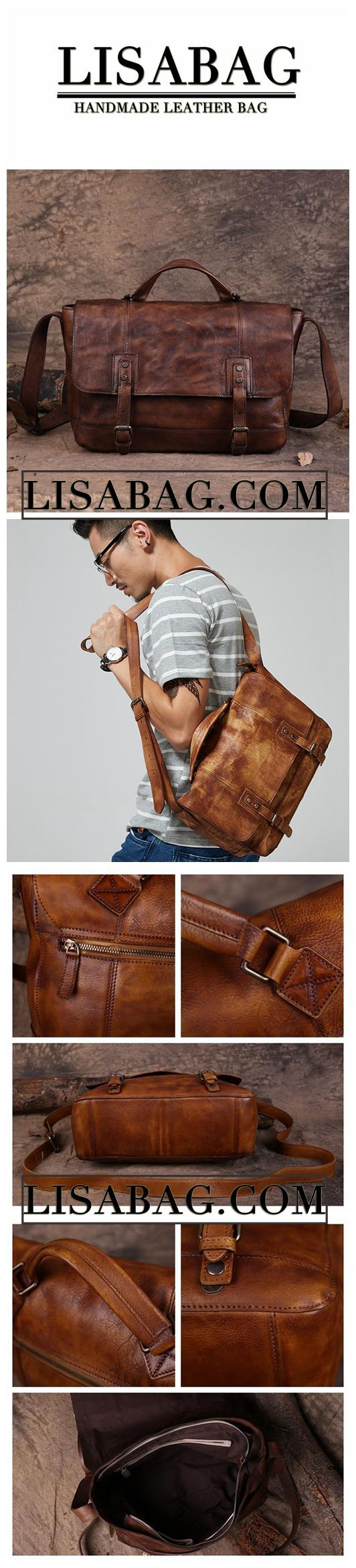 Handmade Leather Briefcase Men's Messenger Bag 13'' Laptop Bag in Dark Brown 15003