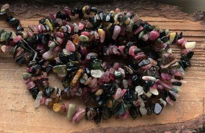 Для украшений ручной работы. Ярмарка Мастеров - ручная работа. Купить Турмалин нить 20 см микс крошка каменная бусины камни для украшений. Handmade.