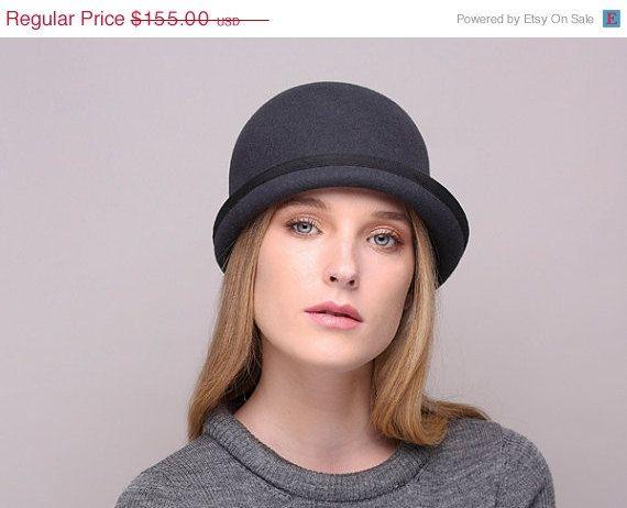 WINTER SALE Beanie hat, men felt hat, Women felt hat, Millinery, winter autumn handmade felt hat, black hat,