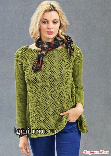 Предлагаю Вашему вниманию ажурный пуловер А-силуэта.  Размеры (европейские): 38/40 (48/50) Размеры (российские): 44/46 (54/56)