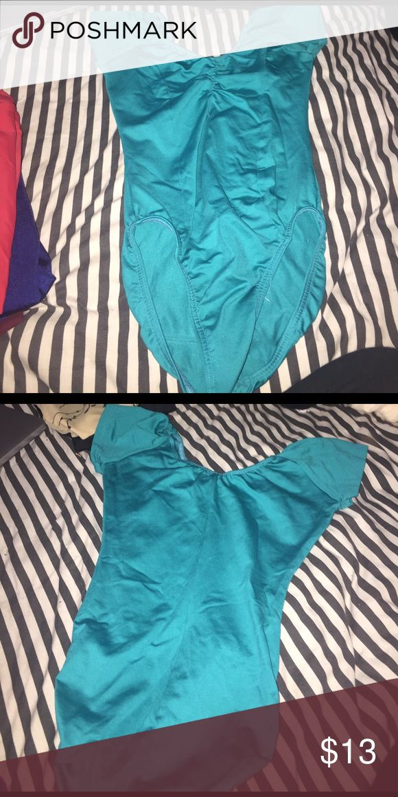 Blue green leotard Blue green leotard with a slight v neck in the front and the back. motion wear Tops