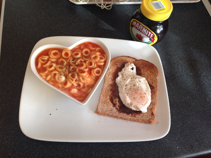 My slimming world breakfast... Syn free! Spaghetti hoops, wholemeal toast with marmite & a poached egg. Was very full after this! Hoops, egg & marmite are all free foods!