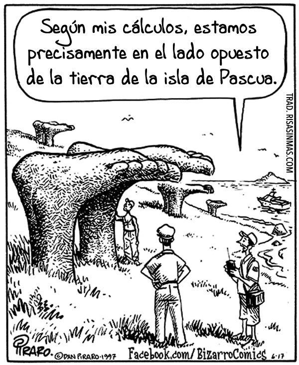 El lado opuesto de la tierra de la isla de Pascua