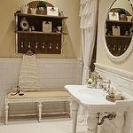 tile: Vintage Bathroom, French Bench, Leg Washstand, Subway Tile Backsplash, Ruffled Shower Curtains, Bench Butter, Beveled Subway Tile