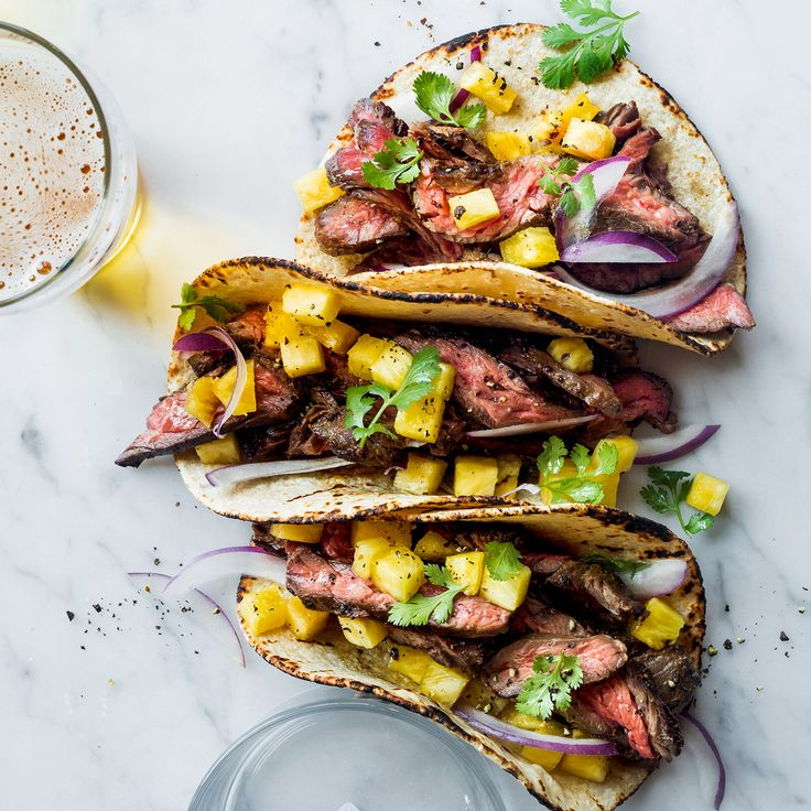 Learn to make these super simple skirt steak tacos with pineapple at Food & Wine.