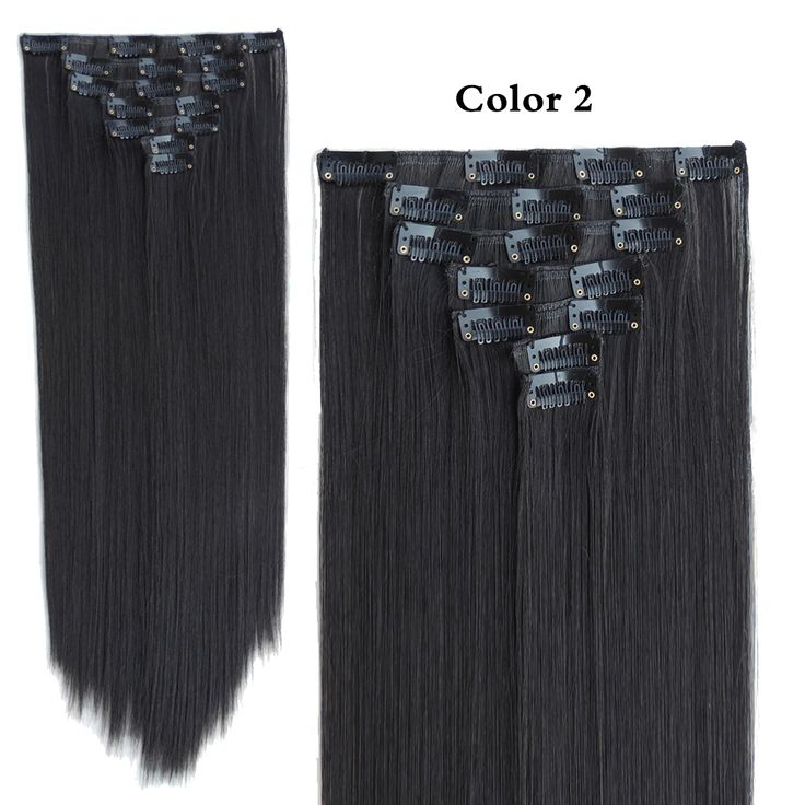 Mega Hair Extension Aplique de Cabelo Clip in Extensiones Shinion Freetress Fibras Tic Tac Natural Black 22inch 130g 7pcs/set
