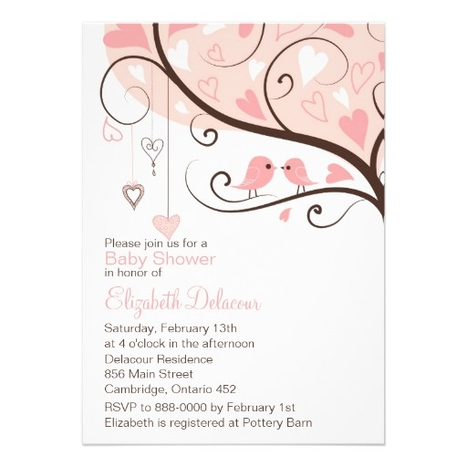 Whimsical Pink Birds Baby Shower Invitation. $2.05