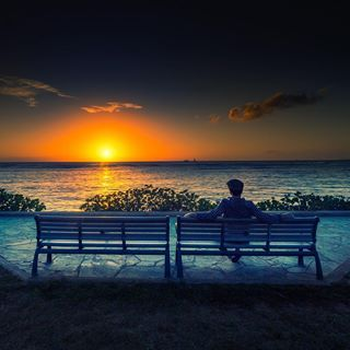 Self-portrait taken by Tom Anderson at Sunset in Hawaii.