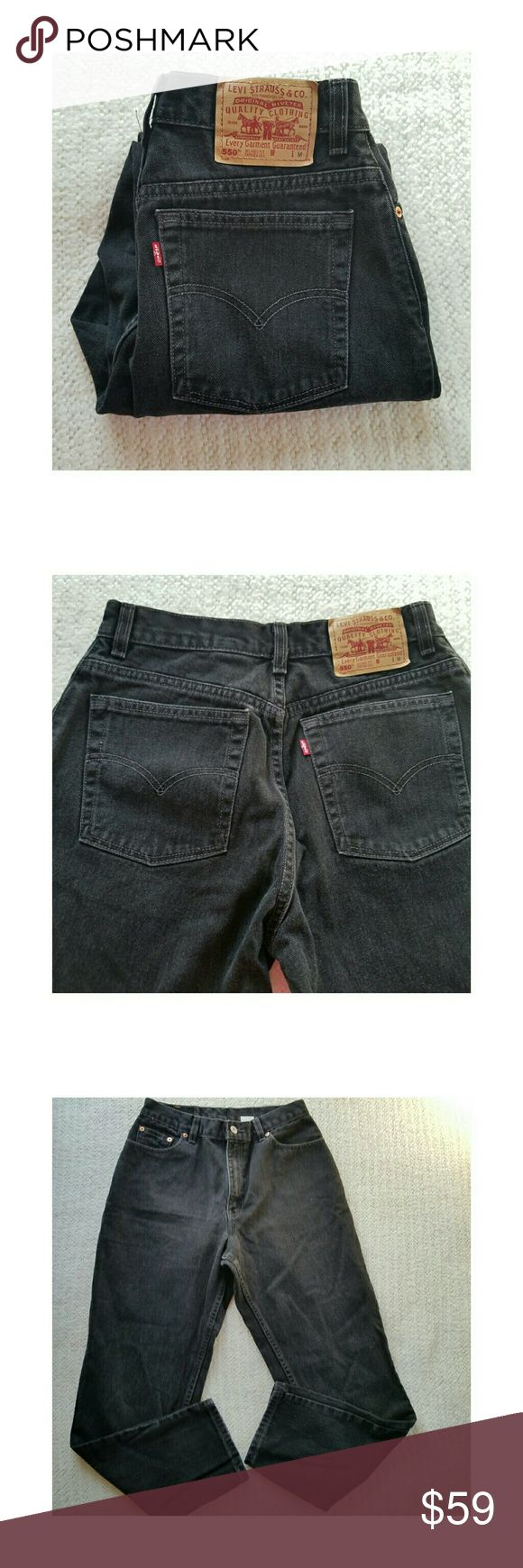 """VINTAGE LEVI'S 550 MOM HIGH WAISTED JEANS SIZE 12 VINTAGE LEVI'S 550 RELAXED FIT TAPERED BLACK MOM HIGH WAISTED JEANS in excellent used condition.  Size on label says 12 MIS M.  Actual measurements are waist is 15""""  rise is  12 """" and inseam is 29.5"""".All measurements are approximate and taken flat. Levi's Jeans Straight Leg"""