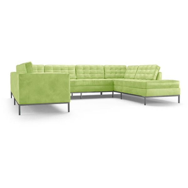 Joybird Furniture Franklin Mid Century Modern Green Leather U Sofa...  ($14,999