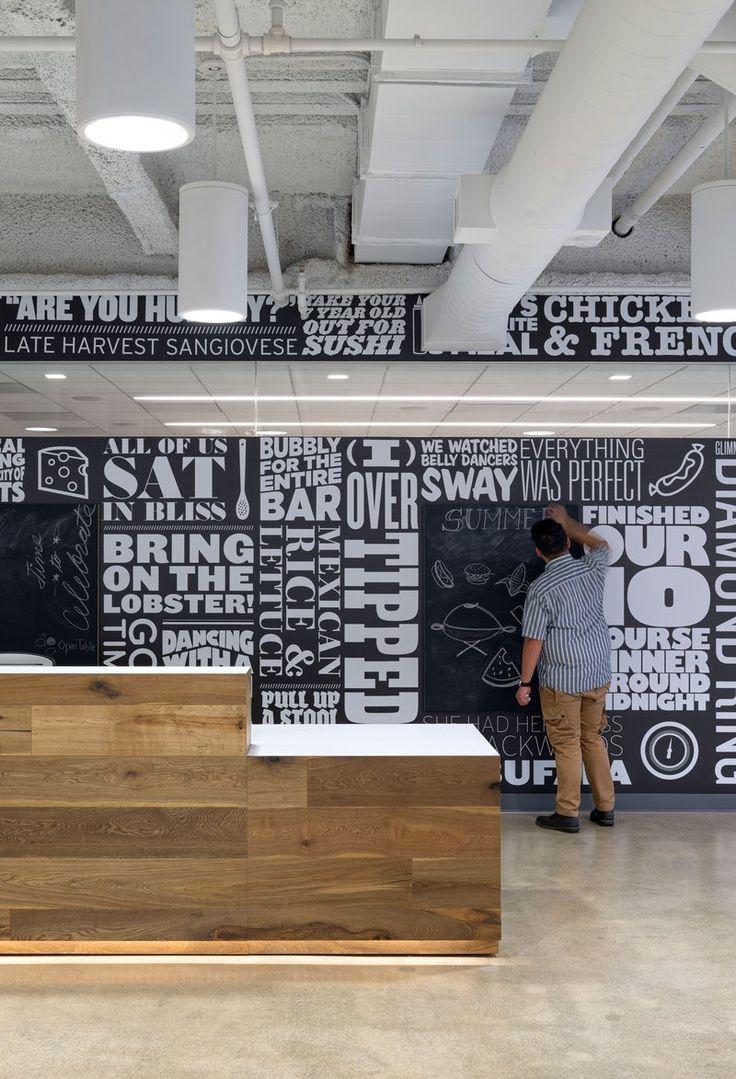 OpenTable's unique and cool San Francisco office | MASHstudios reception desk  http://mashstudios.com/2014/04/30/opentable-2/