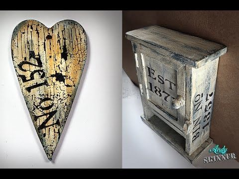 """Antiquing cream on flat surfaces HD 720p - YouTube. """"Andy Skinner's distressing stamps are amazing!"""" CAWeStruck"""