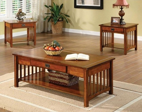 Seville Transitional Antique Oak Solid Wood 3pc Coffee Table Set