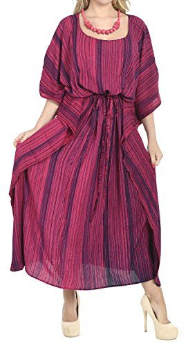 La Leela Rayon Caftan Long Kaftan Women Night Gown Beach Kimono Cover Up Pink. Do YOU want COVER UPS in other colors Like Red | Pink | Orange | Violet | Purple | Yellow | Green | Turquoise | Blue | Teal | Black | Grey | White | Maroon | Brown | Mustard | Navy ,Please click on BRAND NAME LA LEELA above TITLE OR Search for LA LEELA in Search Bar of Amazon. US Size : From Regular 14 (L) TO Plus Size 20W (2X) ➤ UK SIZE : FROM REGULAR 14 (M) TO 24 (XXL) ➤ BUST : 48 Inches [ 121 cms ]➤ Length : 64…