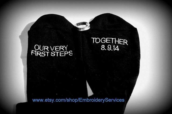 """Wedding Socks for the Groom! """"Our Very First Steps Together"""" with your Wedding Date! Wedding Socks for the Groom by EmbroideryServices on Etsy"""