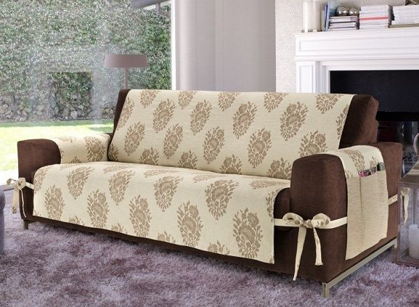 Creative DIY Sofa Cover Ideas Beige Brown With Ties