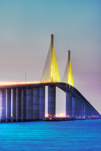 Sunshine Skyway Bridge Sunrise tight view, St Petersburg, Florida where I lived before le bridge...and took a ferry from Golden Gate Point (Sarasota) to St. Pete! Ahhhh....yesteryear, slow but scenic!