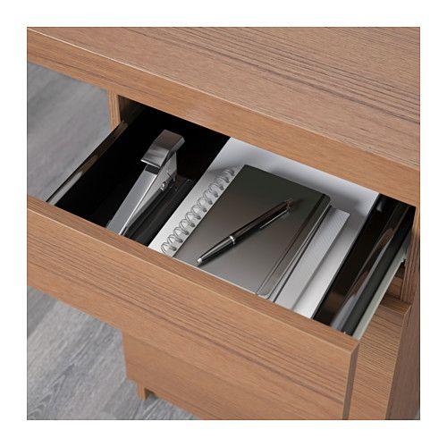 MALM Skrivbord - brunlaserad askfaner - IKEA