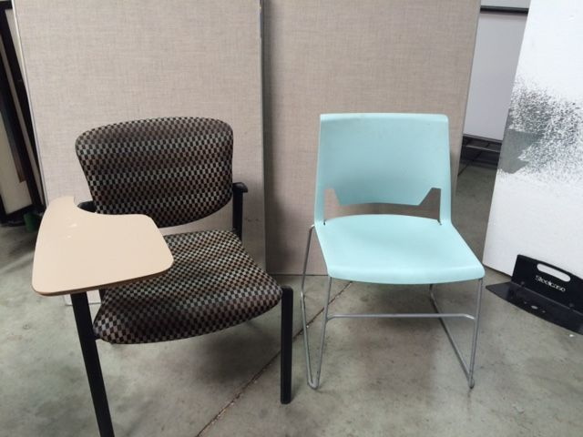 A variety of chairs and even student desks. Selection and quantities vary.