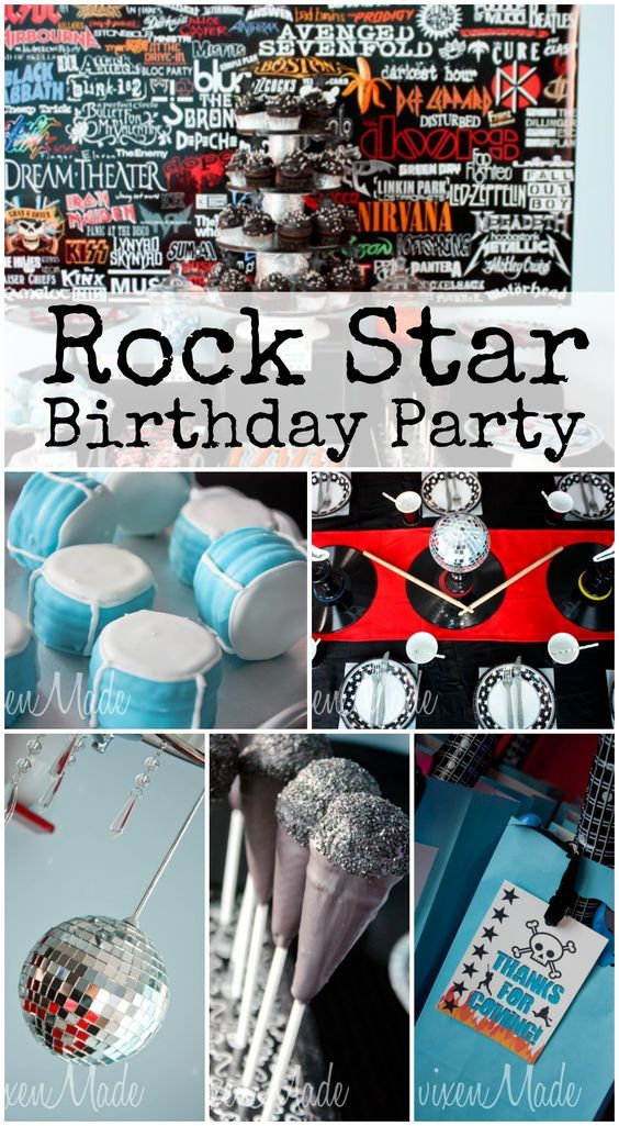 Here are fun rockstar party ideas at this boy birthday! See more party ideas at CatchMyParty.com. #rockstar #boybirthday #partyideas