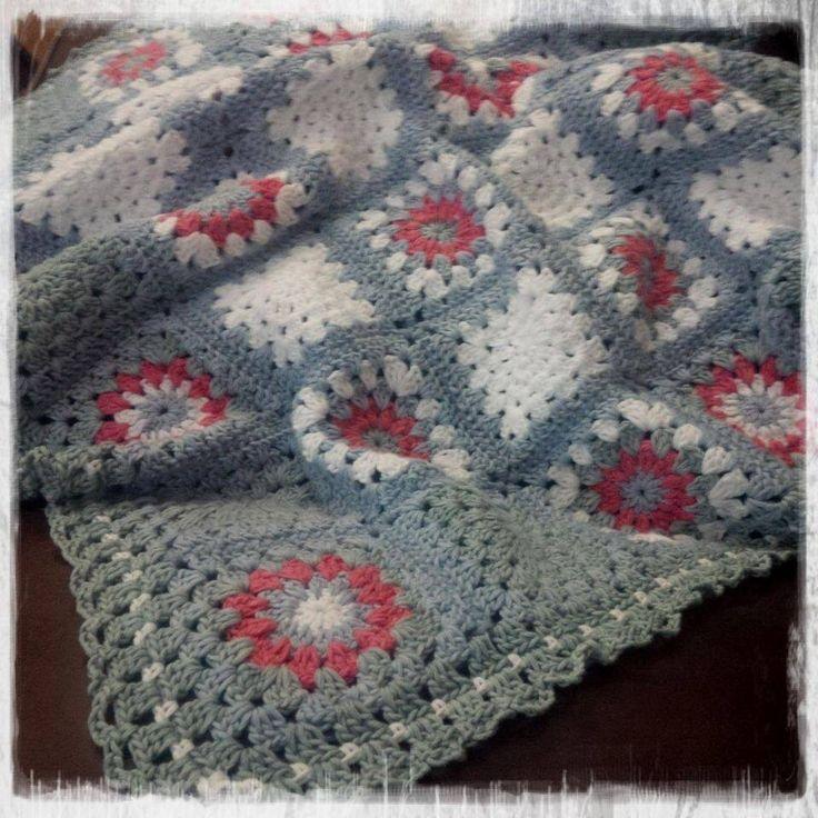Sunburrst granny square crochet blanket for stork tea... By Kari