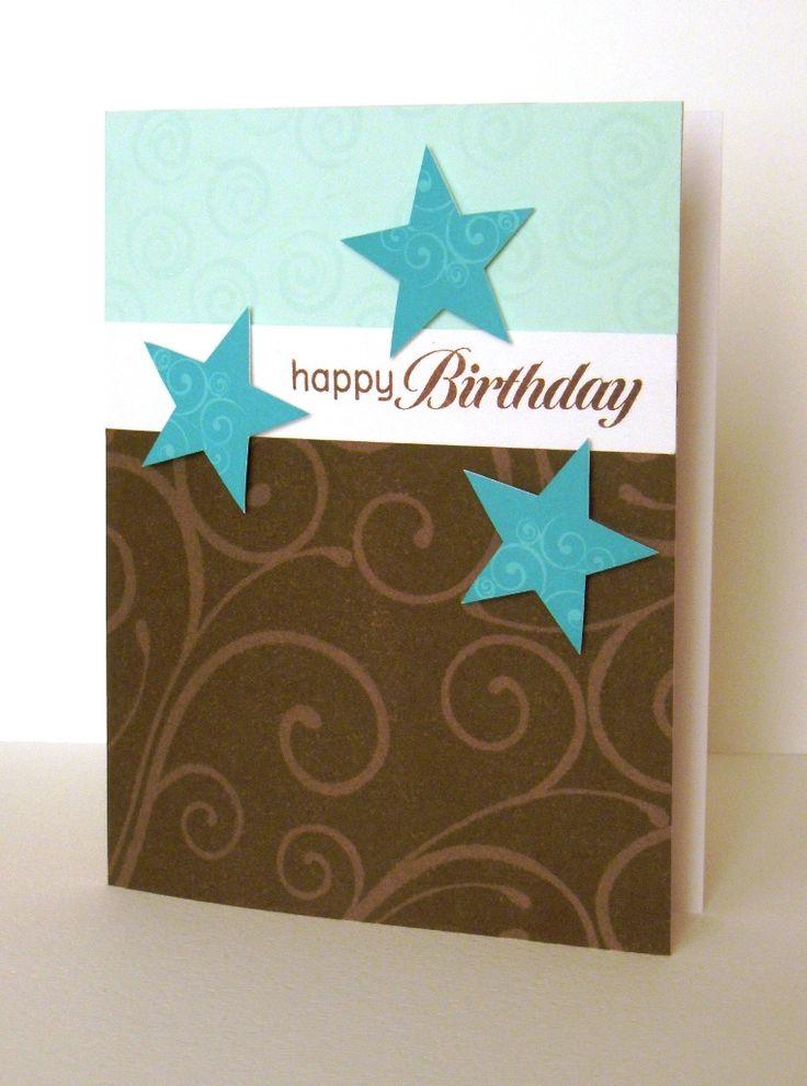 Stars flourish brown turquoise card