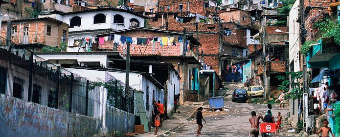 This picture shows poverty in Brazil.  Due to this, as well as unemployment, the country's economy has problems sometimes.  However, it is consistently very strong because of its many forests, mines, and farms.