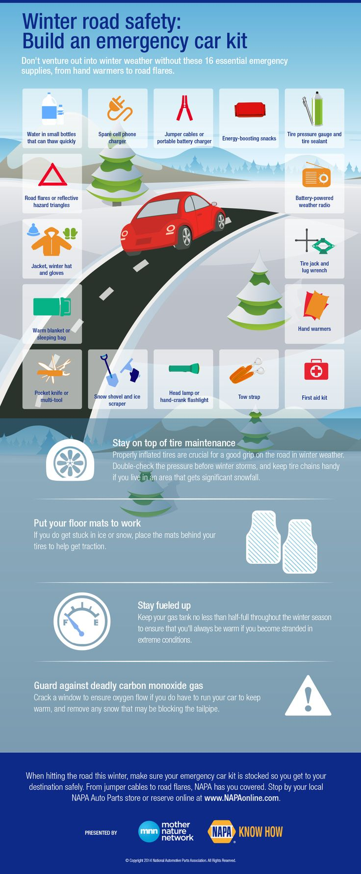 Winter Road Safety: Build an emergency car kit | #infographic