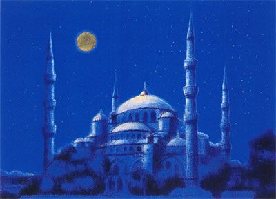 'Silver Moon over the Blue Mosque, Istanbul' lithograph by Ikuo HIRAYAMA