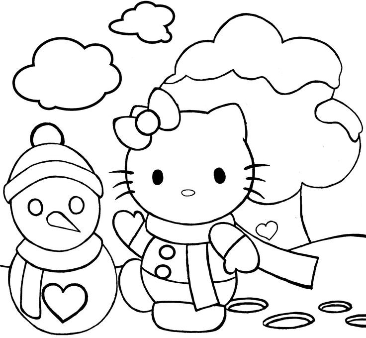 Hello Kitty Snowman Coloring Pages