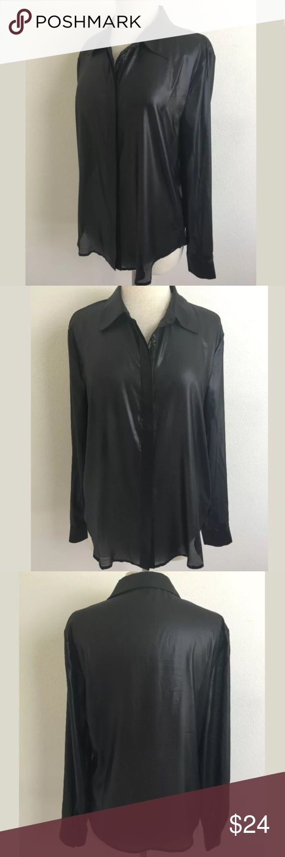W118 by Walter Baker This shirt is sheer but the sheen of the fabric gives it such a cool leather-like look. It's great for an edgy leather look but super soft and flowy feel. It would be great for a night out paired with sexy jeans. Length Shoulder To Hem: 26 Bust: 43 Waist: 40 Fabric Content: 100% polyester W118 by Walter Baker Tops Button Down Shirts