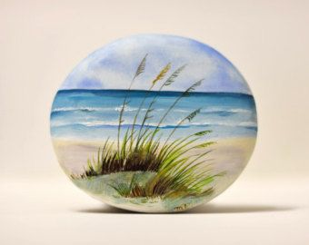 Painted stone sasso dipinto a mano. Tuscan home by OceanomareArt
