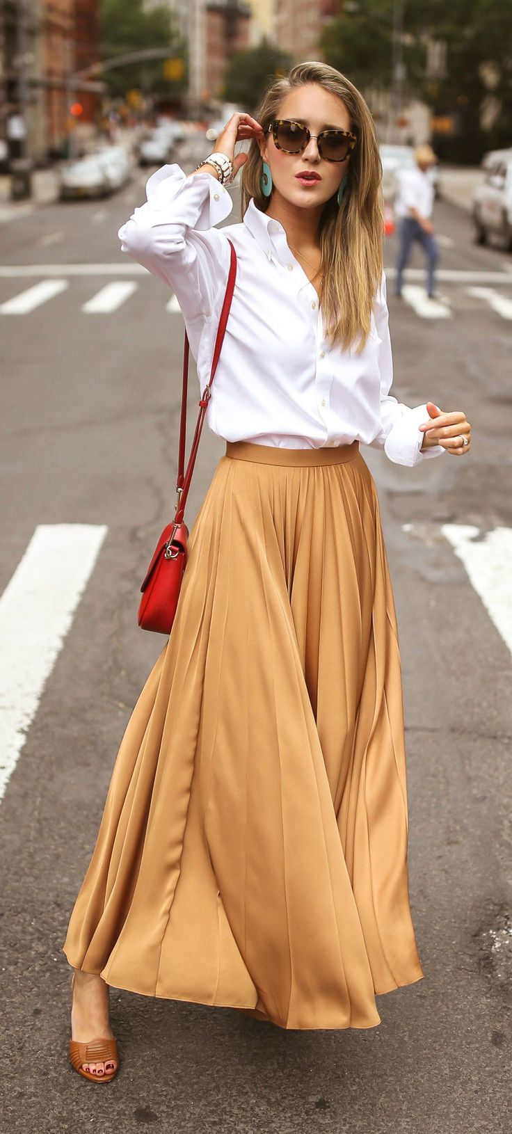 Click for outfit details! // Chestnut crepe de chine pleated maxi skirt, white b…